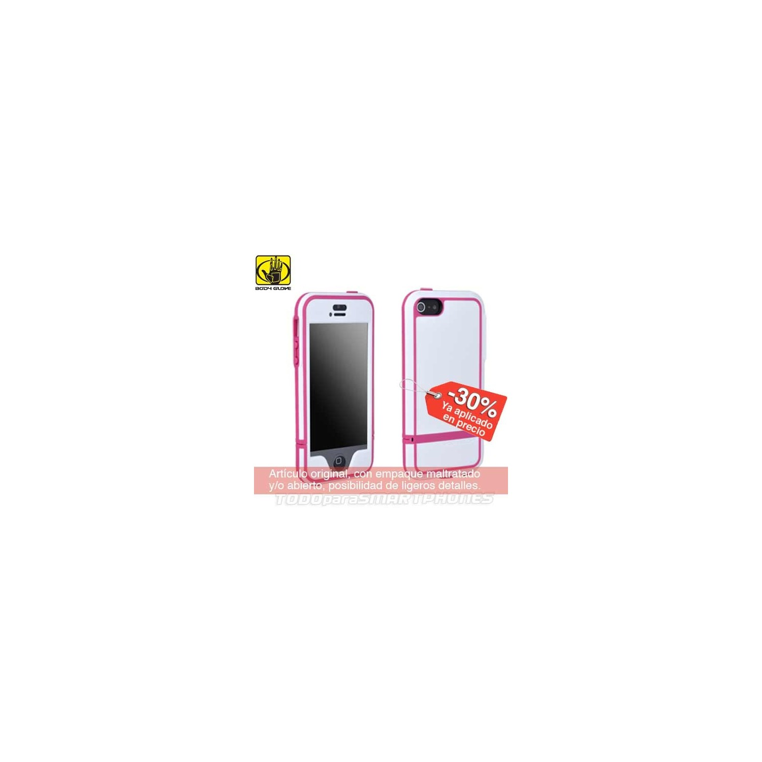 Case - Body Glove for iPhone 5 Shocksuit White Pink